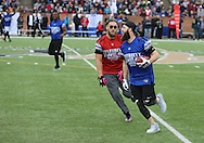 "Professional baseball pitcher for the Major League Baseball Houston Astros, Dallas ""Kid"" Keuchel puts on the quick moves during game action, Super Bowl 51 - 16th Annual Celebrity Flag Football Challenge, Rhodes Stadium,  4 Feb 2017, Katy TX.  Red Team Captain Kirk Cousins would lose for the 2nd straight year to Doug Flutie's Blue team by a final score of 40-35."