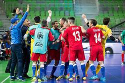 Players of Azerbaijan celebrate goal during futsal match between France and Azerbaijan at Day 4 of UEFA Futsal EURO 2018, on February 2, 2018 in Arena Stozice, Ljubljana, Slovenia. Photo by Urban Urbanc / Sportida