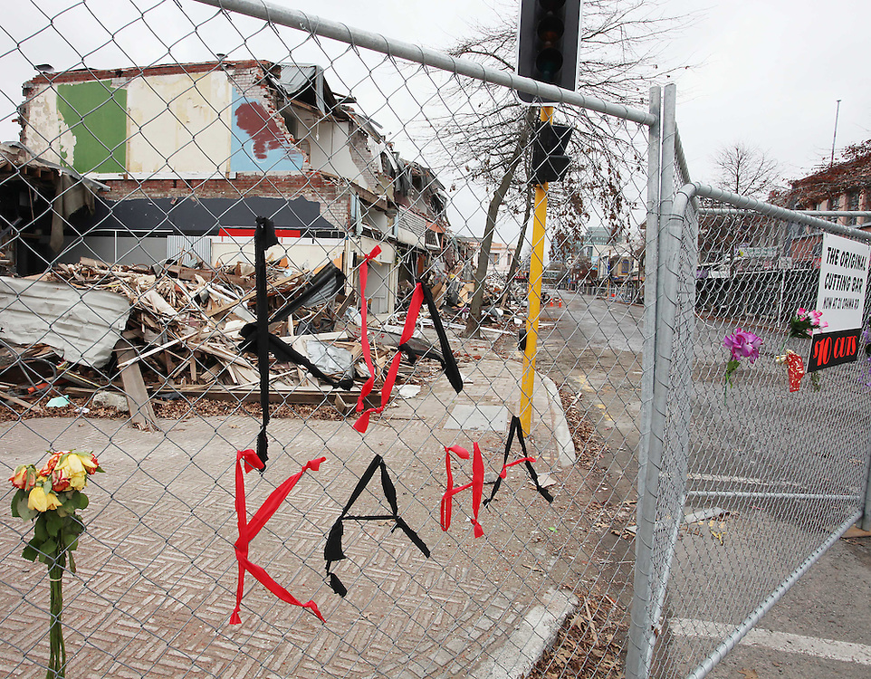 File photo, looking towards 595 Colombo Street, on left, with earthquake damage, Christchurch, New Zealand, May 10, 2010.  Credit:SNPA / Pam Johnson