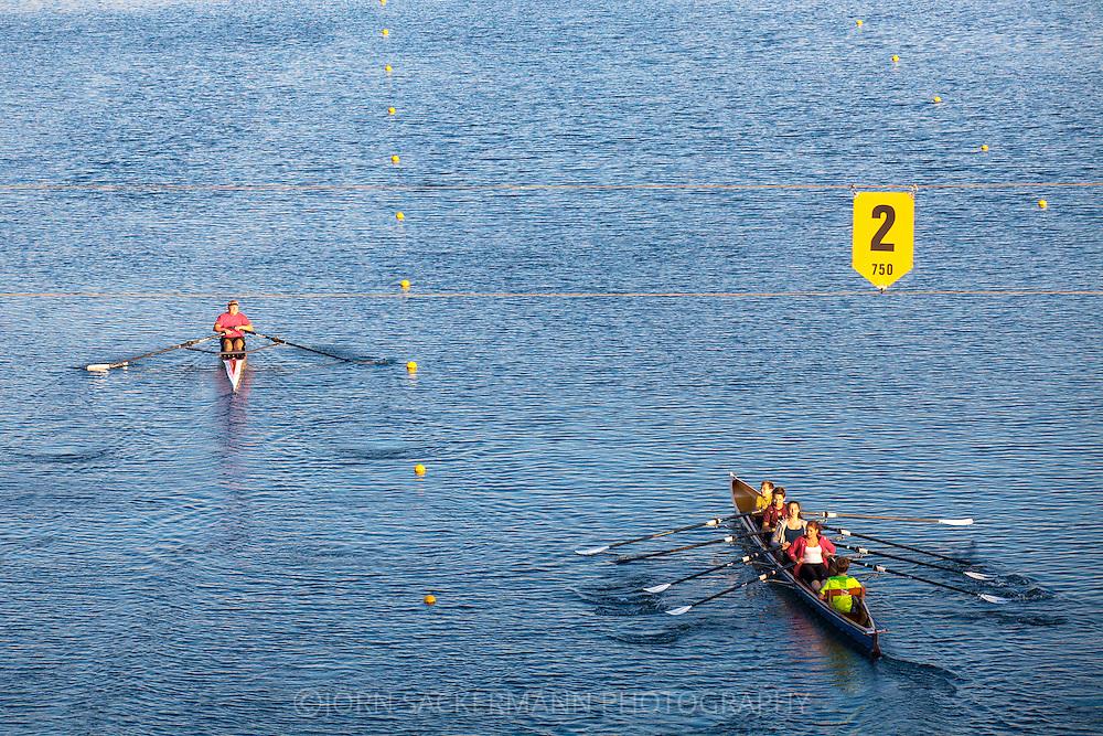 Europa, Deutschland, Nordrhein-Westfalen, Koeln, Regattastrecke am Fuehlinger See, Ruderer.<br /> <br /> Europe, Germany, North Rhine-Westphalia, Cologne, boat race course at lake Fuehlingen, sculler.