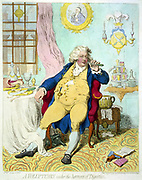 A voluptuary under the horrors of digestion:  Caricature of George IV as the Prince of Wales, languid with repletion, leaning back in an arm-chair, at a table covered with remains of a meal, holding a fork to his mouth. 1800's