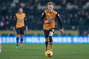 Sam Clucas (Hull City) runs with the ball during the Sky Bet Championship match between Hull City and Sheffield Wednesday at the KC Stadium, Kingston upon Hull, England on 26 February 2016. Photo by Mark P Doherty.
