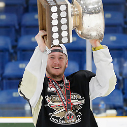 TRENTON, ON  - MAY 6,  2017: Canadian Junior Hockey League, Central Canadian Jr. &quot;A&quot; Championship. The Dudley Hewitt Cup Championship Game between The Trenton Golden Hawks and The Georgetown Raiders. Max Ewart #51 of the Trenton Golden Hawks during post game celebrations. <br /> (Photo by Amy Deroche / OJHL Images)
