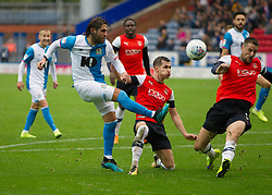 Danny Graham of Blackburn Rovers (L) has a shot at goal - Mandatory by-line: Jack Phillips/JMP - 28/09/2019 - FOOTBALL - Ewood Park - Blackburn, England - Blackburn Rovers v Luton Town - English Football League Championship