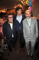 Left to right, ALBER ELBAZ, MIKA and Christian Louboutin at the launch party of 'Songs For Sorrow' hosted by Alber Elbaz and Mika held at Lanvin, 32 Savile Row, London on 11th November 2009.
