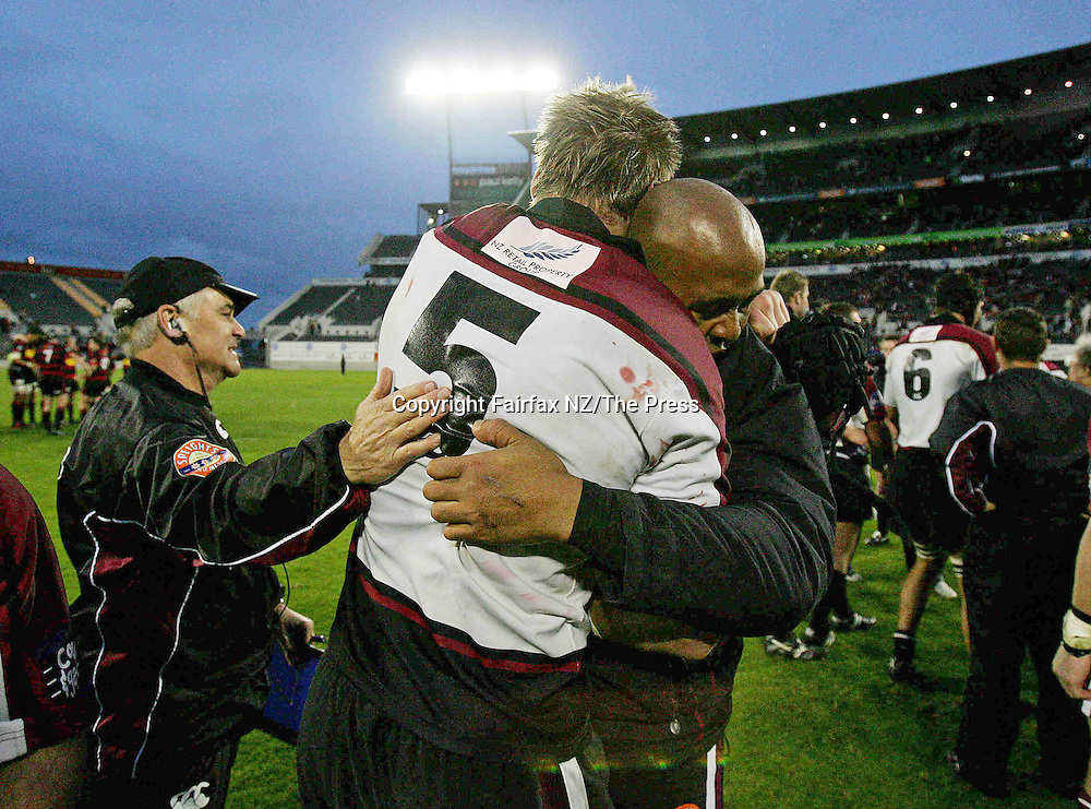 North Harbour lock Greg Rawlinson,  gets a hug from Jonah lomu and a pat on the back from manager Steve Allen after the Ranfurly Shield match played at Jade Stadium in Christchurch on Sunday. North Harbour won the shield from Canterbury, beating them 21-17 for the first time in the history of the province, and after failing in 10 previous attempts.
