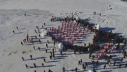 January 1, 2018 - Balikun, Balikun, China - Balikun, CHINA-1st January 2018:(EDITORIAL USE ONLY. CHINA OUT) ..People perform during the ice and snow festival in Balikun, northwest China's Xinjiang Uygur Autonomous Region. (Credit Image: © SIPA Asia via ZUMA Wire)