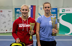 Second placed Tjasa Klevisar and winner Tina Cvetkovic at trophy ceremony after final match during Slovenian National Tennis Championship 2019, on December 21, 2019 in Medvode, Slovenia. Photo by Vid Ponikvar/ Sportida