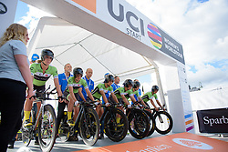 Cylance Pro Cycling receive their countdown to start the 42,5 km team time trial of the UCI Women's World Tour's 2016 Crescent Vårgårda Team Time Trial on August 19, 2016 in Vårgårda, Sweden. (Photo by Sean Robinson/Velofocus)