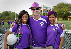 10 May 2016. New Orleans, Louisiana.<br /> NPSL Soccer, Pan American Stadium.<br /> Fans from the Royal Court support their team as the New Orleans Jesters take on the Shreveport Rafters FC in the first leg of the Louisiana Cup. Jesters win 2-0. <br /> Photo; Charlie Varley/varleypix.com