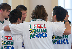 T-shirt I feel South Africa at Reception of Slovenian National football team at president of Republic of Slovenia dr. Danilo Turk after Slovenia qualified for the FIFA World Cup South Africa 2010, in President's place , Ljubljana, Slovenia.   (Photo by Vid Ponikvar / Sportida)