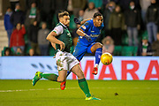 Alfredo Morelos (#20) of Rangers FC shoots for goal past Darren McGregor (#24) of Hibernian FC during the Ladbrokes Scottish Premiership match between Hibernian and Rangers at Easter Road, Edinburgh, Scotland on 8 March 2019.