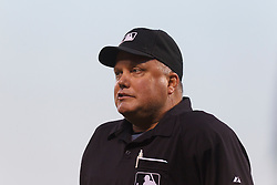 August 9, 2011; San Francisco, CA, USA;  MLB umpire Brian O'Nora (7) during the fourth inning between the San Francisco Giants and the Pittsburgh Pirates at AT&T Park. San Francisco defeated PIttsburgh 6-0.