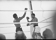 Ali vs Lewis Fight, Croke Park,Dublin.<br /> 1972.<br /> 19.07.1972.<br /> 07.19.1972.<br /> 19th July 1972.<br /> As part of his built up for a World Championship attempt against the current champion, 'Smokin' Joe Frazier,Muhammad Ali fought Al 'Blue' Lewis at Croke Park,Dublin,Ireland. Muhammad Ali won the fight with a TKO when the fight was stopped in the eleventh round.<br /> <br /> A crushing left  jab by Ali rocks Lewis back onto his heels.