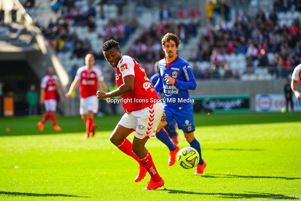 Benjamin MOUKANDJO - 12.04.2015 - Reims / Nice - 32eme journee de Ligue 1 <br />Photo : Dave Winter / Icon Sport