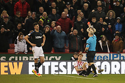 February 13, 2019 - Sheffield, South Yorkshire, United Kingdom - SHEFFIELD, UK 13TH FEBRUARY  Middlesbrough's Daniel Ayala is shown a red card by referee Andy Woolmer during the Sky Bet Championship match between Sheffield United and Middlesbrough at Bramall Lane, Sheffield on Wednesday 13th February 2019. (Credit: Mark Fletcher | MI News) (Credit Image: © Mi News/NurPhoto via ZUMA Press)