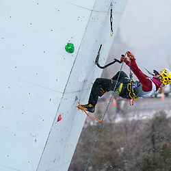 Angelika climbing at the 2018 Ouray Ice Festival Mixed Climbing Competition