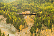 Burlington Northern Santa Fe train crosses Middle Fork of Flathead River in Flathead National Forest, Great Bear Wilderness Area, Continental Divide, on the southern edge of Glacier National Park, near Essex Montana