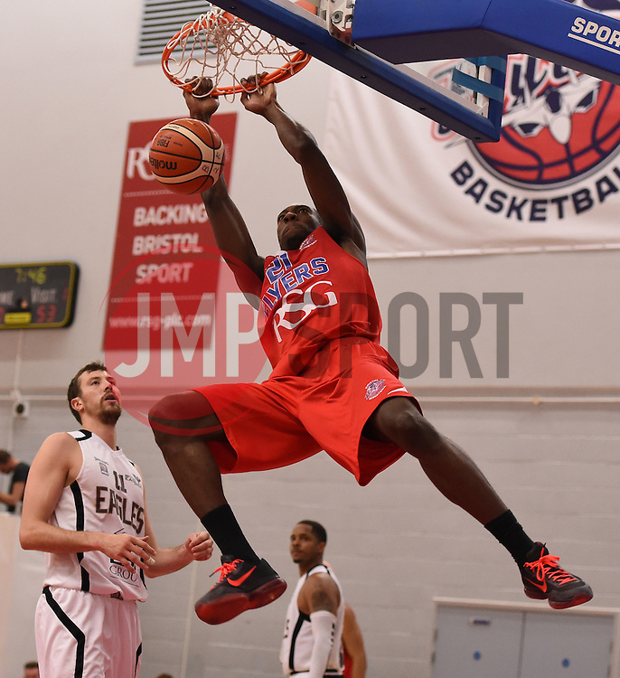 Tyrone Lee of Bristol Flyers scores with a slam dunk  - Photo mandatory by-line: Joe Meredith/JMP - Mobile: 07966 386802 - 10/10/2015 - BASKETBALL - SGS Wise Arena - Bristol, England - Bristol Flyers v Newcastle Eagles - British Basketball League