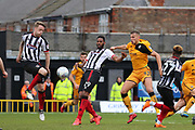 Grimsby Town defender Danny Collins (6) and Grimsby Town forward Jamille Matt (29) battles for possession during the EFL Sky Bet League 2 match between Grimsby Town FC and Port Vale at Blundell Park, Grimsby, United Kingdom on 10 March 2018. Picture by Mick Atkins.
