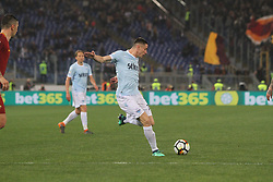 April 15, 2018 - Rome, Lazio, Italy - Adam Marusic try to shoot.at Stadio Olimpico of Roma. Lazio and Roma tied for 0-0 the ''derby della Capitale'' of Italian Serie A. (Credit Image: © Paolo Pizzi/Pacific Press via ZUMA Wire)