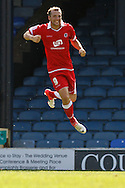 Picture by David Horn/Focus Images Ltd +44 7545 970036.18/08/2012.Karl Sheppard of Accrington Stanley celebrates scoring the only goal during the npower League 2 match at Roots Hall, Southend.