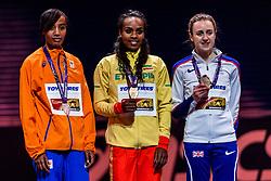 01-03-2018 GBR: World Athletics Indoor, Birmingham<br /> Bij de WK indoor atletiek heeft Sifan Hassan donderdagavond zilver gepakt op de 3000 meter. De Ethiopische Genzebe Dibaba, tweevoudig wereldkampioene indoor op deze afstand, pakte weer goud en de Schotse nummer drie Laura Muir het brons