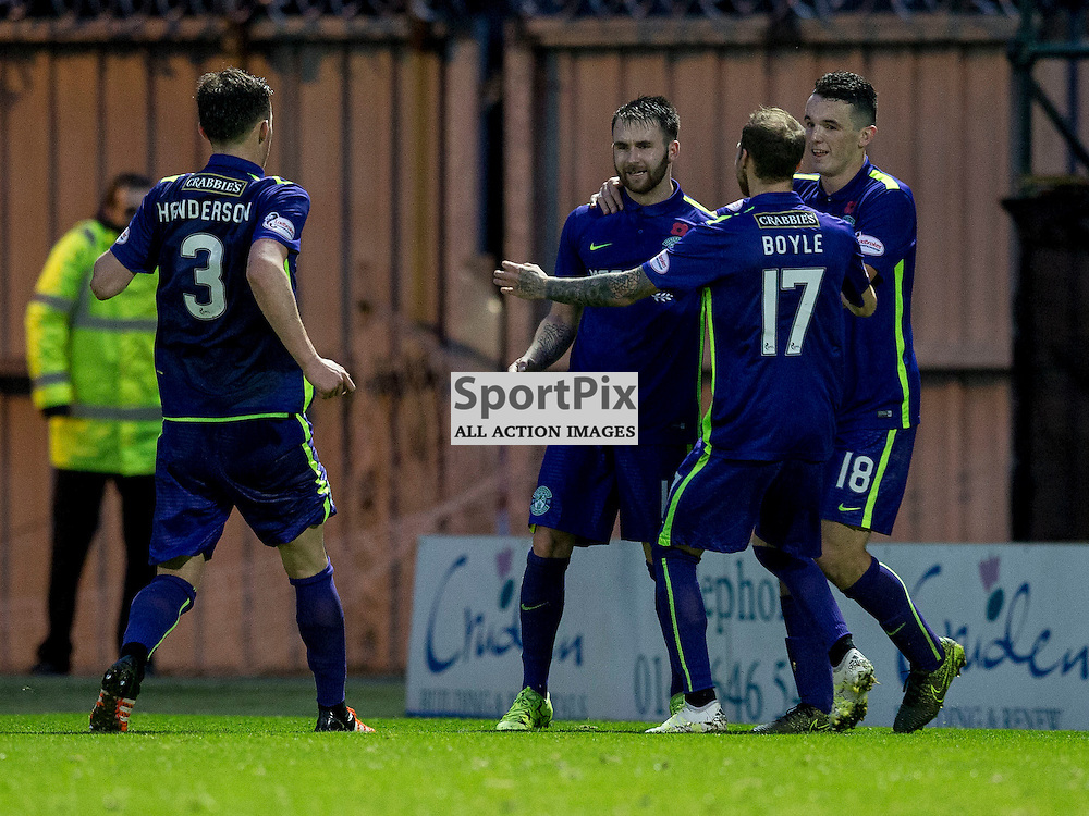 James Keatings (Hibernian) celebrates his hatrick after scoring his third goal from the penalty spot during the Ladbrokes Championship match between St Mirren v Hibernian at St Mirren Park on Saturday 7 November 2015<br /> <br /> Picture: Alan Rennie