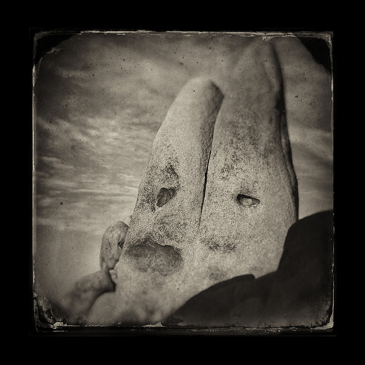 "Charles Blackburn image of Cone head Rock faces in Joshua Tree, CA. 5x5"" print."