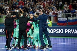 Players of Portugal celebrate after futsal semifinal match between National teams of Russia and Portugal at Day 9 of UEFA Futsal EURO 2018, on February 8, 2018 in Arena Stozice, Ljubljana, Slovenia. Photo by Urban Urbanc / Sportida