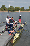 Brandenburg. GERMANY. GBR M4-, prepare for an afternonn training session at the 2016 European Rowing Championships at the Regattastrecke Beetzsee<br /> <br /> Wednesday  04/05/2016<br /> <br /> [Mandatory Credit; Peter SPURRIER/Intersport-images]