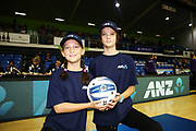 ANZ Future Captains Kate Hammond aged 8 and Ella Hammond aged 11 pose for a photo prior to the match. 2018 ANZ Premiership netball match, Mystics v Stars at The Trusts Arena, Auckland, New Zealand. 13 May 2018 © Copyright Photo: Anthony Au-Yeung / www.photosport.nz