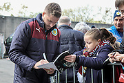 Burnley players signing autographs for the fans before the Sky Bet Championship match between Burnley and Queens Park Rangers at Turf Moor, Burnley, England on 2 May 2016. Photo by Mark P Doherty.