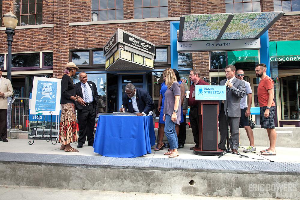 Rail Rally, Kansas City Streetcar construction, July 29, 2015. Mayor Sly James signing last piece of rail.