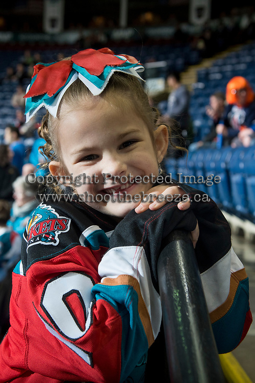KELOWNA, CANADA - MARCH 25: A young fan on March 25, 2017 at Prospera Place in Kelowna, British Columbia, Canada.  (Photo by Marissa Baecker/Shoot the Breeze)  *** Local Caption ***