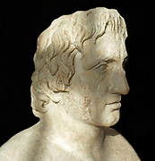 A bust portrait sculpture of the artist Praxiteles. The Athenian sculptor credited for being the first to sculpt the nude female form. 370-330 BC.