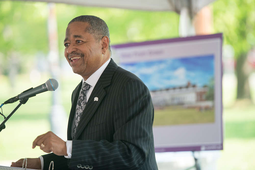 Ohio Universiy President Roderick McDavis at the groundbreaking cereomny for McCracken Hall on Thursday, May 7, 2015. Photo by Ben Siegel/ Ohio University