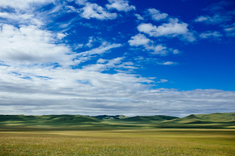 Rolling hills and a blue sky on the vast, wide open steppes of  northern Mongolia.