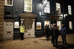 © Licensed to London News Pictures. 06/03/2018. Salisbury, UK. The scene in outside Zizzi's Italian restaurant in Salisbury as a police cordon has been extended where former Russian spy Sergei Skripal and his daughter were taken after becoming ill with suspected poisoning. The couple where found unconscious on bench in Salisbury shopping centre. Specialist units have been called in to deal with any possible contamination. Photo credit: Peter Macdiarmid/LNP