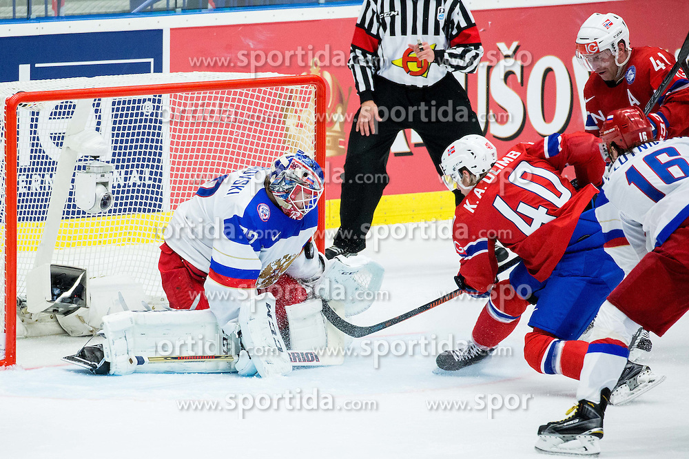 Ken Andre Olimb of Norway and Patrick Thoresen of Norway vs Sergei Bobrovski of Russia during Ice Hockey match between Russia and Norway at Day 1 in Group B of 2015 IIHF World Championship, on May 1, 2015 in CEZ Arena, Ostrava, Czech Republic. Photo by Vid Ponikvar / Sportida