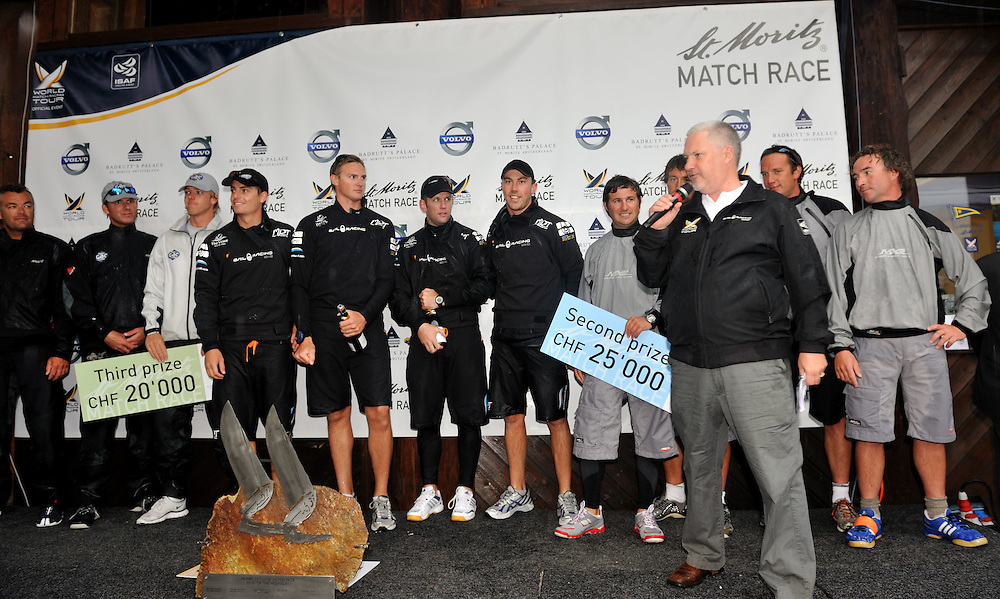 WMRT CEO Jim O'Toole congratulates Torvar Mirsky and The Wave Muscat team on their St. Moritz Match Race win. Photo: Chris Davies/WMRT