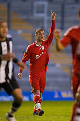 WARRINGTON, ENGLAND - Wednesday, April 29, 2009: Liverpool's Nikola Saric in action against Newcastle United during the FA Premiership Reserves League (Northern Division) match at the Halliwell Jones Stadium. (Photo by David Rawcliffe/Propaganda)