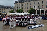 Timo Bernhard (DEU) / Mark Webber (AUS) / Brendon Hartley (NZL) #1 and Romain Dumas (FRA) / Neel Jani (CHE) / Marc Lieb (DEU) #2 Porsche Team Porsche 919 Hybrid, team photo at scrutinering,   during the Le Mans 24 Hr June 2016 at Circuit de la Sarthe, Le Mans, Pays de la Loire, France. June 12 2016. World Copyright Peter Taylor/PSP.