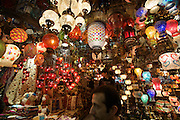 "Istanbul. At the Egyptian Bazar (""Spice Bazar""). Traditional lamps."
