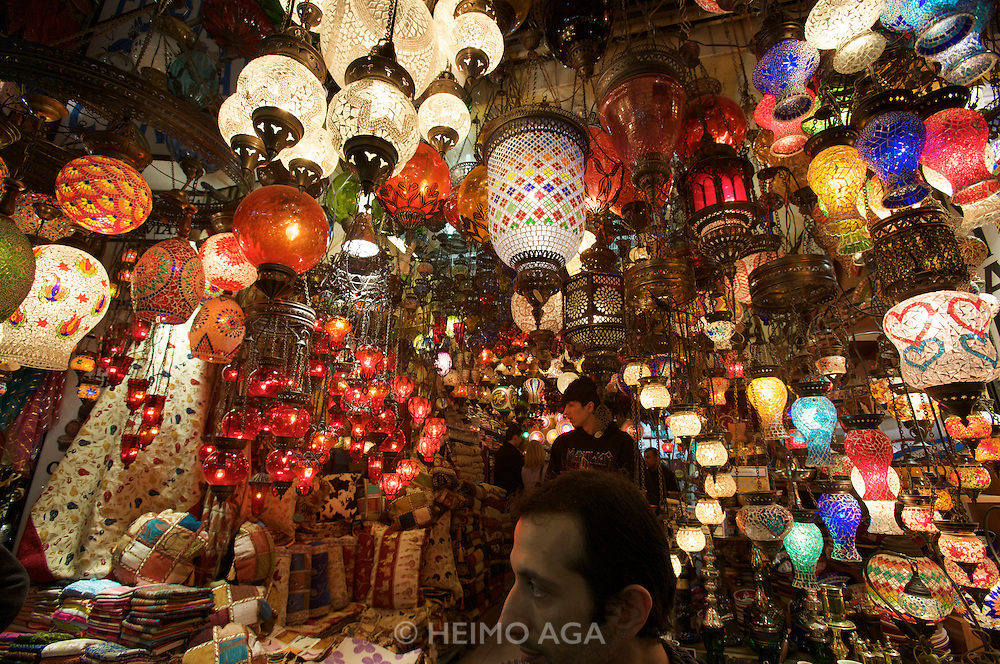"""Istanbul. At the Egyptian Bazar (""""Spice Bazar""""). Traditional lamps."""