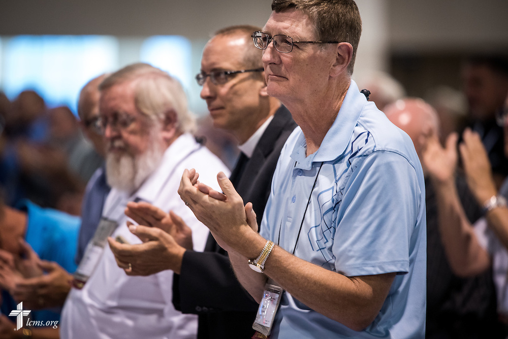 Delegates react Wednesday, July 13, 2016, at the 66th Regular Convention of The Lutheran Church–Missouri Synod, in Milwaukee. LCMS/Frank Kohn