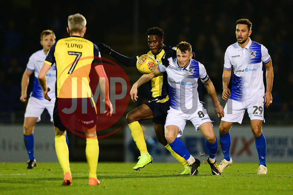 Ike Ugbo of Scunthorpe United challenges for the ball with Ollie Clarke of Bristol Rovers - Mandatory by-line: Dougie Allward/JMP - 17/11/2018 - FOOTBALL - Memorial Stadium - Bristol, England - Bristol Rovers v Scunthorpe United - Sky Bet League One