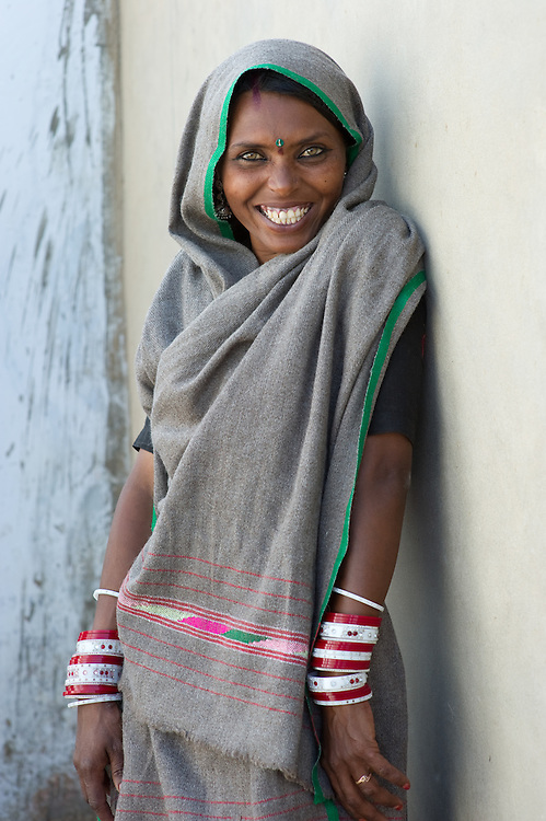 Close-up portrait from a woman from Rajasthan (Thar desert), India. She is a member of the Bhopa tribe, originally wandering musicians.