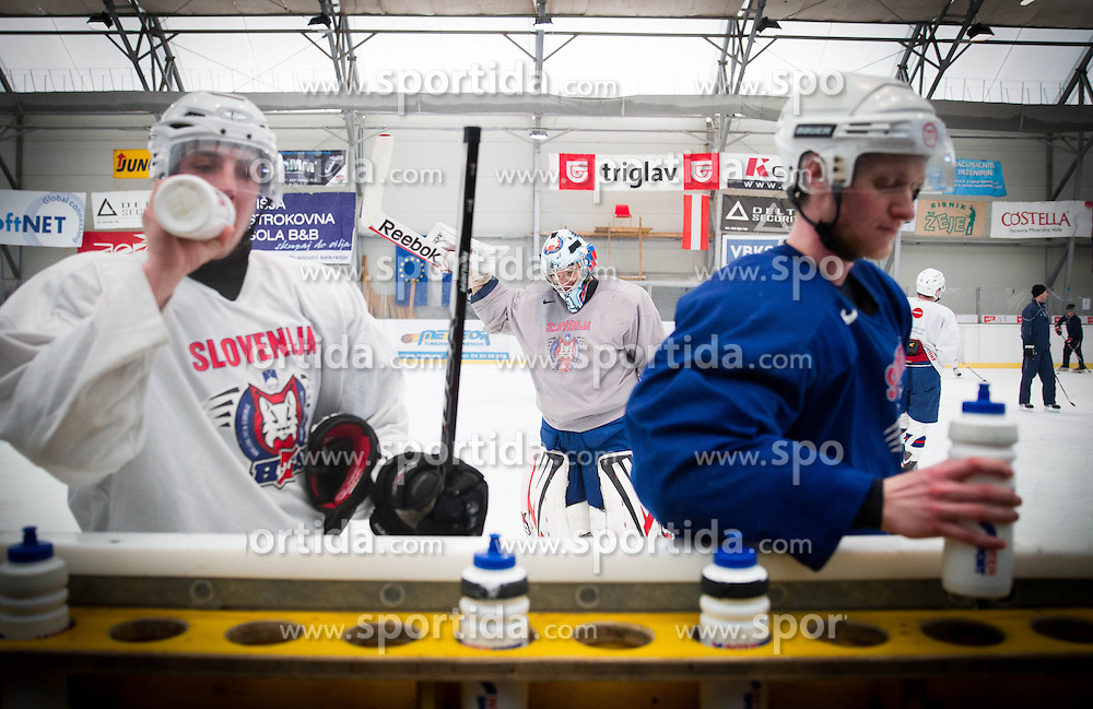 Goalie Andrej Hocevar (C) during practice session of Slovenian Ice Hockey National Team for IIHF World Championship in Sweden and Finland, on March 28, 2013, in Arena Zlato Polje, Kranj, Slovenia. (Photo by Vid Ponikvar / Sportida.com)