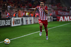 September 20, 2018 - Piraeus, Attiki, Greece - Lazaros Christodoulopoulos (no 11) of Olympiacos vies for the ball. (Credit Image: © Dimitrios Karvountzis/Pacific Press via ZUMA Wire)